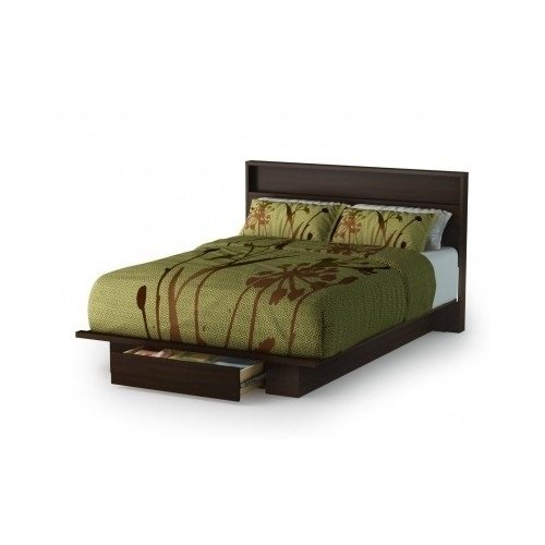 Full/Queen Storage Platform Bed and Headboard - Mocha (White Queen Bed With Drawers Underneath)