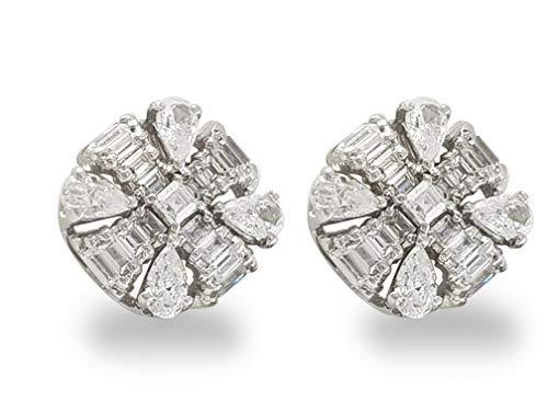 Adastra Jewelry 925 Sterling Silver Stud Earrings for Women (AAAAA (VVS D) Clarity), White Pear Baguette Stone Stud Earrings