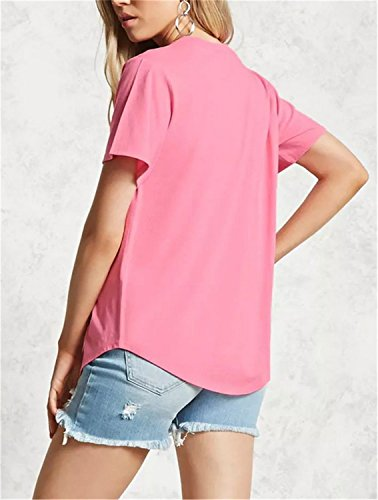 SHUNLIU Camisetas Mujer Blusas de Mujer Camiseta del Verano del V-cuello de Manga Corta Camiseta de Color Sólido T-Shirt para Mujer Rosa