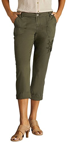 LEE Women's Midrise Fit Bohemian Cargo Capri Pant, Forest, 16
