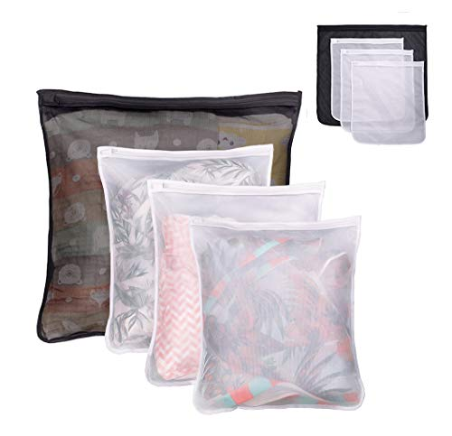Lazyaunti 4 Pcs Mesh Laundry Bag for Lingerie Delicates Intimate, Clothing Washing Bags for Socks Underwear, Resistant of Tear Fade (Black, Nylon)