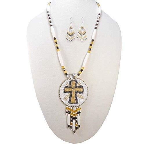 Handmade Christian Cross Symbol Medallion Beaded Necklace Earrings Set S-51-SB-9