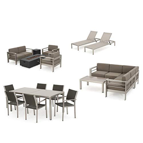 (Coral Bay 17-Piece Grand Patio Sectional, Lounge, Dining Set & Firepit (Glass Top Tables))