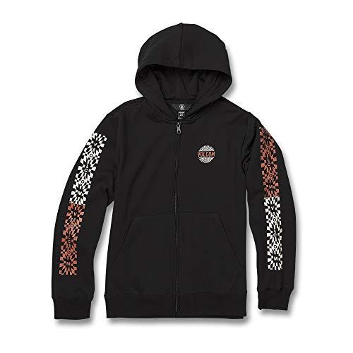 Volcom Big Boy's Supply Stone Zip Up Hooded Sweatshirt, Black, Medium (Boys Skateboard Hoodie)