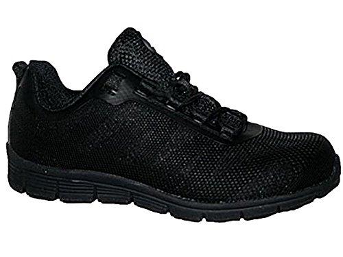 Scarpe Di Sicurezza Protezione Delle Signore Gr95 Acciaio, Lavoro Di Sicurezza, Sneakers Stivali, Formato 3-8 (uk) Nero / Nero