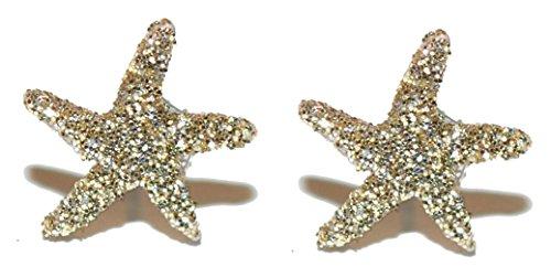 Mini Gold Glitter Star Fish Starfish Stud Earrings (S551) (Earrings Mini Starfish)
