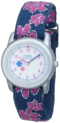 Timex Kids' T74951 Analog Flowers Elastic Fabric Strap Watch