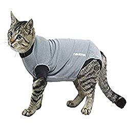 "Kruuse Buster Body Suit for Cats, Grey/Black, 13.5""/Size XX-Small"