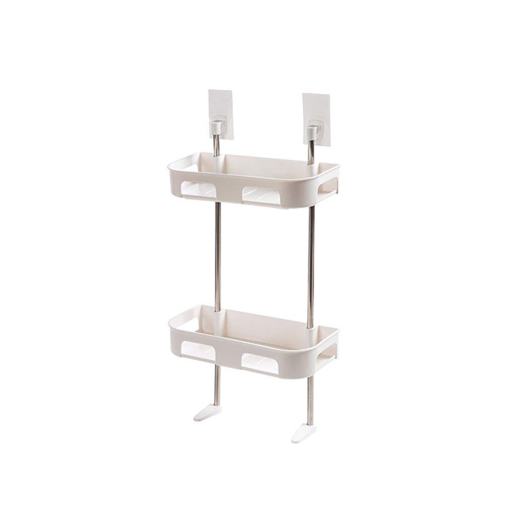 HY Punch-free Family Multi-layer Wash Bathroom Rack Bathroom Plastic Storage Rack (Color : White, Size : L30CMW13.5CMH50.5CM)