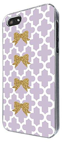 003251 - Gold glitter bow violet pattern Design iphone 4 4S Coque Fashion Trend Case Coque Protection Cover plastique et métal - Clear