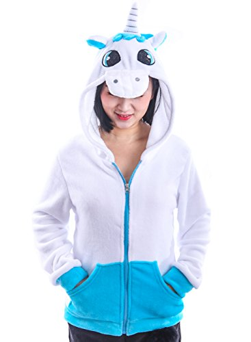 AooToo Costume Hoodies Cute Juniors Kids Cartoon Animal Flannel Zipper Jackets(Unicorn Blue, S(7/9)) -