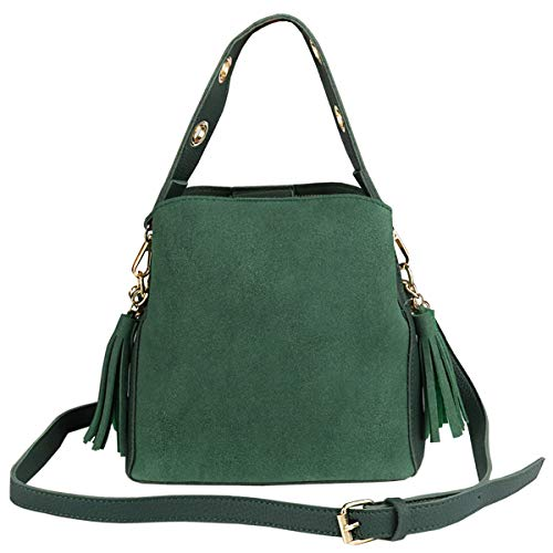 (GeWeDen Small Double-faced Bucket Bag Nubuck Leather Crossbody Bags Tassel Top Handle Bags (Green))