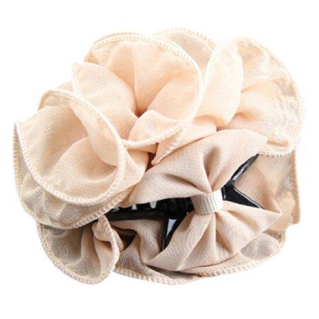 MacTop 1 Piece Women's Chiffon Rose Flower Bow Hair Clip (Beige)