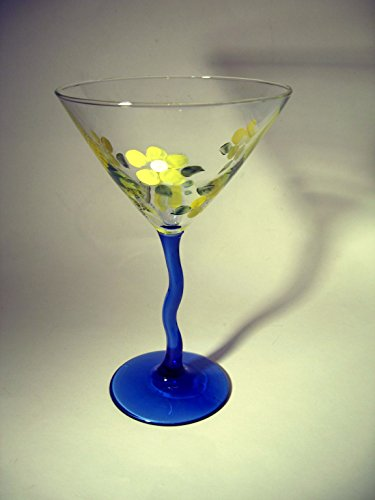 Hand Painted Martini Glass With Yellow Flowers