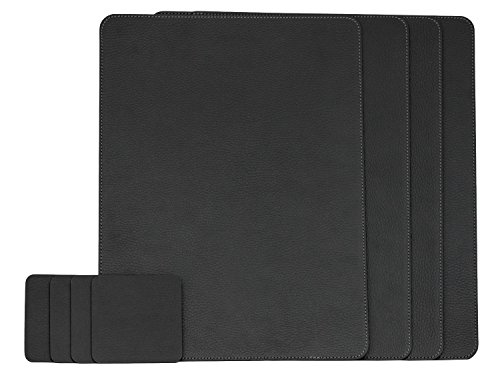 Leather Set Italian (Nikalaz Set of Black Placemats and Coasters, 4 Table Mats and 4 Coasters, Italian Recycled Leather, Place Mats 15.7'' x 11.8'' and Coasters 3.9'' x 3.9'', Dining table set)