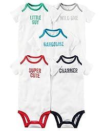 Carters Baby Boys 5 Pack Bodysuits (Baby) (Newborn, White Slogan)