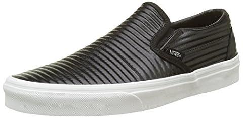 Vans Unisex Classic Slip-On (Moto Leather) Black/Blanc De Blanc Skate Shoe 8 Men US / 9.5 Women US - Unisex Black Leather