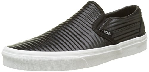 Vans Classic Slip-On, Womens Trainers, Black(Black/Blanc De Blanc(Moto Leather)), 5 (38 EU)