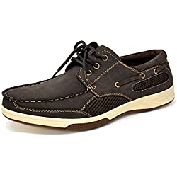 Bruno Marc Men's PITTS Brown Genuine Leather Loafers Boat Shoes - 10.5 M US