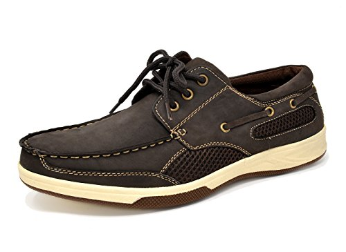 49d091b73b5 Bruno Marc Men s Pitts Brown Genuine Leather Loafers Boat Shoes – 9 M US