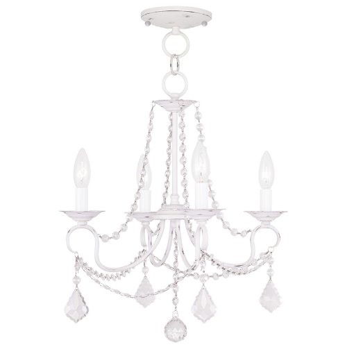 Livex Lighting 6514-60 Pennington 4 Light Convertible Hanging Lantern/Ceiling Mount, Antique White ()