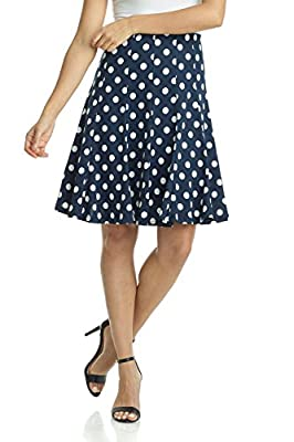 Rekucci Women's Ease into Comfort Flared Knee Length Knit Skirt