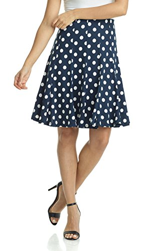 White Twirl Skirt - Rekucci Women's Ease into Comfort Flared Knee Length Knit Skirt (X-Large,Navy White Dot)
