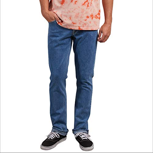 Volcom Men's Vorta Stretch Denim Jean, Stone Blue, 32X32 (Volcom Skateboard)