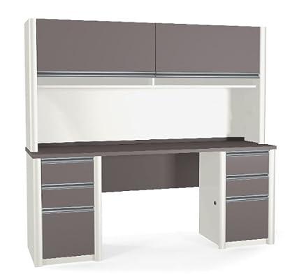 Amazon Com Connexion Series Double Pedestal Desk Hutch In Slate