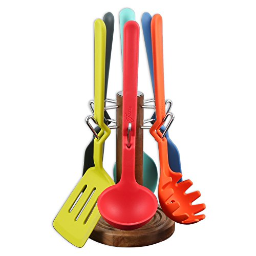 Fiesta 6491Y8R 7 Piece Silicone & Acacia Wooden Spoon, Mulitcolored