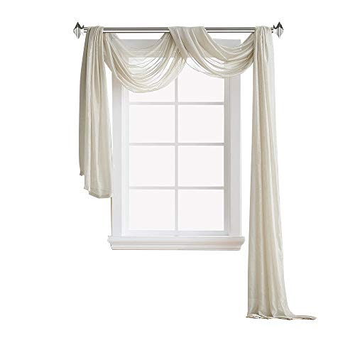 Warm Home Designs Extra Long 54quot Width x 216quot Length Sheer Beige Light Taupe Window Scarf All Premium Valance Scarves are Great for Any Window Bed Wall or Other DIY Project K Beige 216quot