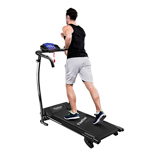 Finether Running Machines:Electric Motorized Treadmill Folding Running Jogging Walking Machine Portable Gym Equipment for Fitness Workout and Home Exercise with 3 Level Manual Incline, Heart Rate Monitor 600W 47''x23.5''x48.5''/100 KG Capacity