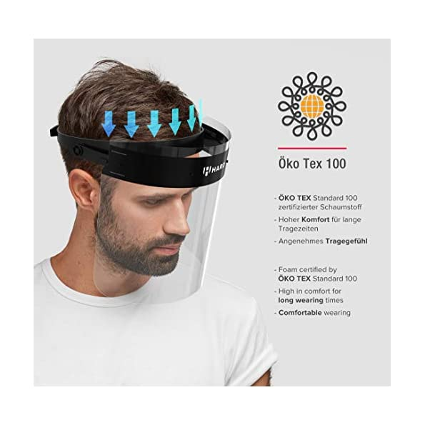 HARD-Visier-Gesichtsschutz-1-x-Halter-mit-2-x-Wechselvisier-Aufklappbares-Face-Shield-mit-beidseitigem-Anti-Beschlag-Gesichtsschild-mit-verstellbarem-Verschluss-SchwarzSchwarz