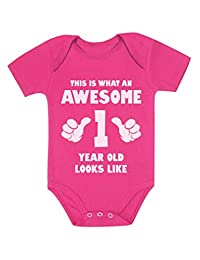This is What an Awesome One Year Old Looks Like Baby Bodysuit with Stickers