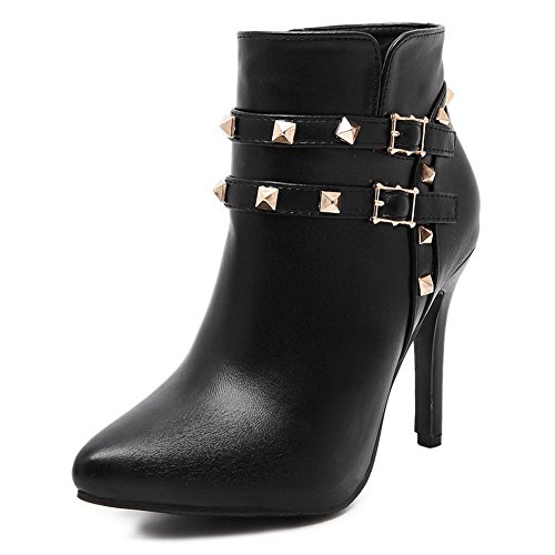 - WeiPoot Women's Pointed Closed Toe PU Zipper Spikes-Stilettos Low-Top Boots, Black, 37