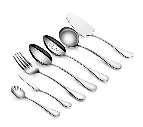 Flatware Serving - Artaste 56433 Rain 18/10 Stainless Steel 7-Piece Hostess Set, Silver