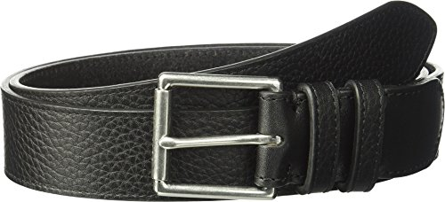 Haan Cole Belt Mens (Cole Haan Men's 35mm Flat Strap W/Stitched Edge, Double Loops, Polished Nickel/Black, 32)