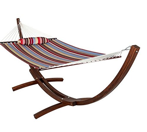 HomyDelight 12 ft. Wood Arc Hammock Stand with 2 Person Double Layer Polyester Fabric Hammock and Pillow RED Blue Stripe elegant comfortable 165
