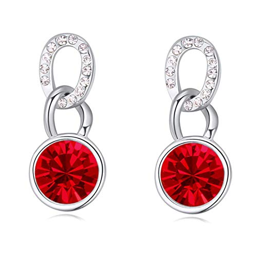 (Top Sale Party Jewelry Fashion Round Earrings Stud Rhodium Plated Crystals from Austria Women Earrings (Light Siam))