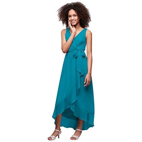 Mousseline De Soie Froissée Faux-wrap Style Robe De Demoiselle D'honneur Junior Jb9816 Oasis
