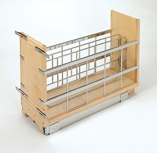 Rev-A-Shelf - 447-BCSC-8C - 8 in. Pull-Out Wood Foil Wrap/Tray Divider Cabinet Organizer with Soft-Close Slides