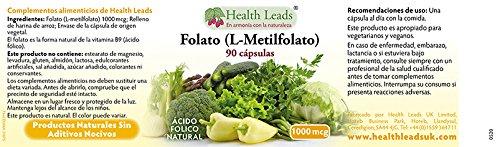 Folato (L-metilfolato) 1000mcg x 90 Cápsulas: Amazon.es: Salud y cuidado personal