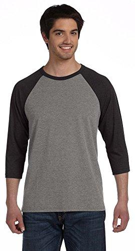 Bella + Canvas Unisex 3/4-Sleeve Baseball T-Shirt, Large, GRY/CHAR-BLK TRI