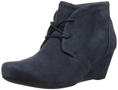 CLARKS Women's Flores Rose Ankle Bootie, Navy Suede, 6.5 M US by CLARKS