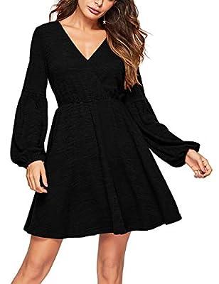 Lin's Womens Long Sleeve Pockets Casual Faux Wrap Swing Flare Skater Dress