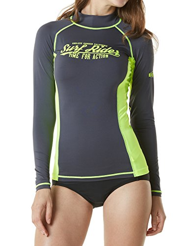 TSLA Women's UPF 50+ Slim-Fit Long Sleeve Athletic Rashguard, Surf Riders(fsr20) - Charcoal & Neon Yellow, Small ()