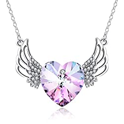 Love Heart Crystal Guardian Angel Pendant Necklace