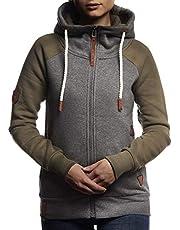 LEIF NELSON Damen Freizeitjacke-Hoodie Kapuze | Moderne Sweatjacke-Kapuzenpullover | Frauen Jacke Slim Fit 10255