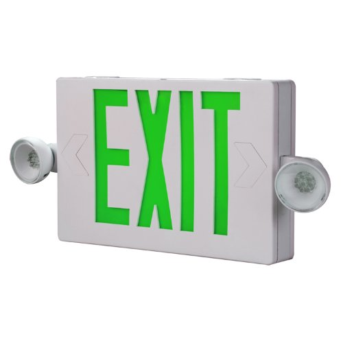 Combo Green Letters - All-Pro Emergency APCH7G Combo Unit LED-Exit Sign with Dual Lights, Green Letters