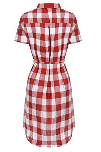 HOTOUCH Blanc Rouge Courte Carreaux Robe Long Chemisier Femme Chic Manche Chemise qPzcqrvU